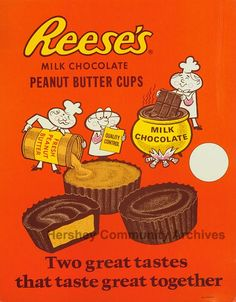 Reese's Old Ads | Reese's Peanut Butter Cups point-of-purchase advertisement. Love the ...
