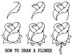 drawing techniques 45 Beautiful Flower Drawings and Realistic Color Pencil Drawings Drawing Lessons, Drawing Techniques, Flower Step By Step, Step By Step Drawing, How To Draw Flowers Step By Step, How To Draw Roses, Easy To Draw Flowers, Easy To Draw Rose, Easy Pics To Draw