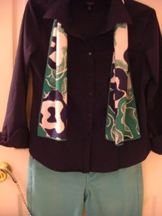Navy Shirt with Vera Scarf