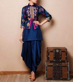 Blue Silk Kurti with Jodhpuris, Citrine