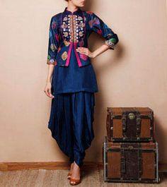 Blue Silk Kurti with Jodhpuris
