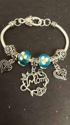 European style bracelet-European beads-Charm bracelet-Heart charm-Mom charm-Blue Euro beads-Mother day