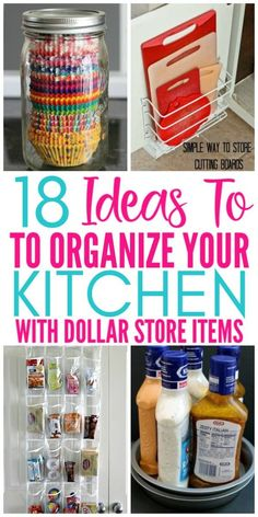 18 Genius Kitchen Organizing Ideas From The Dollar Store - Organization Obsessed 18 Ideas To Organize Your Kitchen With Items From The Dollar Store. These budget friendly organizing ideas are brilliant for organizing your kitchen on a budget! Diy Kitchen Storage, Diy Kitchen Decor, Kitchen On A Budget, Kitchen Pantry, Kitchen Hacks, Diy Home Decor, Kitchen Ideas, Kitchen Design, Organize Kitchen Cupboards