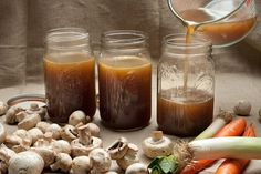 Easy Mushroom Broth Recipe - CHOW  Use your favorite mushrooms (maybe baby Bella's)  add some red wine or low sodium soy sauce for even richer flavor!