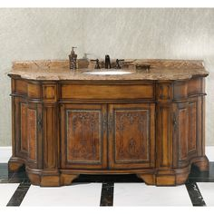 We like this, but 72 inches long!!!  Has toe space at bottom.  Add beauty to your bathroom decor with this stunning 72-inch single sink vanity. Displaying a vintage design and solid Thailand oak with leather carving, this one of a kind piece features a brown marble top and bronze metal knobs to complete the look.