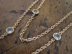 Long Gold Necklace Crystals Bracelet too Etsy Free by OliviaClare, $68.00