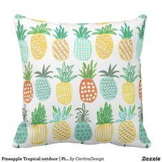 Pineapple Tropical outdoor | Pillow. Artwork designed by CartitaDesign. Price $52.20 per pillow