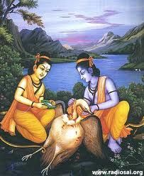 Jatayu informed about Sita abduction by Ravana to Rama and Lakshmana.