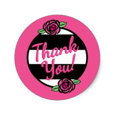 Rose and Stripes Thank You Stickers