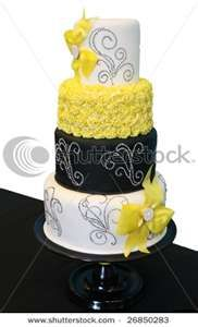 Black And White Patterned Wedding Cake With Yellow Roses Stock Photo ...