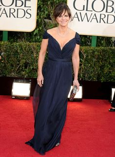 Sally Field looked radiant in a custom navy chiffon cap sleeve gown by Alberta Ferretti.