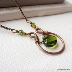 Olive Crystal Antique Copper Horseshoe Pendant. Wire Wrapped Copper Necklace.