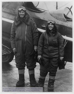 Charles A. Lindbergh and Anne Morrow Lindbergh in flight gear, 1931.The Manuscripts and Archives Digital Images Database (MADID)