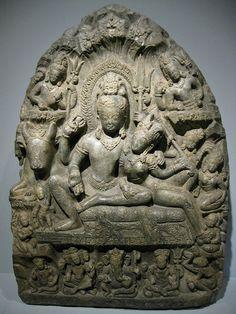God Shiva & Goddess Parvati, Nepal, 900s, Gray Limestone. Denver Art Museum, Colorado, USA