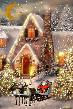 Winter Christmas Scenes, Merry Christmas Wallpaper, Christmas Scenery, Christmas Village Display, Merry Christmas Wishes, Merry Christmas And Happy New Year, Christmas Love, Beautiful Christmas, Vintage Christmas
