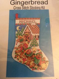 Gingerbread Cross Stitch Stocking Kit Christmas Friends House Tree Elliott 5952 #DesignWorks #stocking