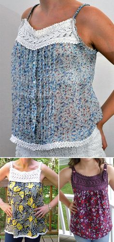 Free Knitting Pattern for Carrie Lace Trimmed Top - Knit lace trim for yoke and the edging on a fabric top. For the fabric body, upcycle an existing top as the designer does or add to a new sewing project. Designed by Handy Kitty. Fingering weight yarn. Pictured projects by maja-blue who seems to have upcycled an existing top, riversmocker who used a different top pattern, and yarnstarved.