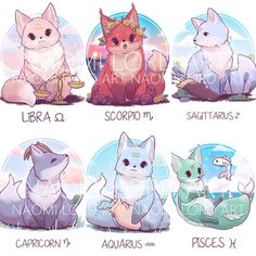 All the Zodiac foxes! Which one is your favourite? I'm trying to think of my next foxy theme maybe specific types o. Zodiac Signs Animals, Zodiac Signs Chart, Zodiac Signs Sagittarius, Zodiac Star Signs, Cute Wolf Drawings, Cute Animal Drawings Kawaii, Cute Fox Drawing, Cute Dragon Drawing, Horse Drawings