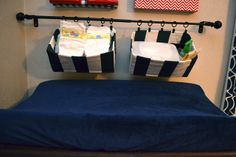 Fabric-covered Canvas Nursery Art And Hanging Diaper Organizers