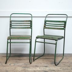 Authentic vintage terrace chairs from Hungary refurbished in Amsterdam - wood, metal, green patina www.harvestandcompany.com