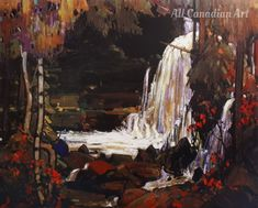 Woodland Waterfall Painting by Tom Thomson Reproduction Tom Thomson, Canadian Painters, Canadian Artists, Group Of Seven Artists, Waterfall Paintings, Most Famous Paintings, Oil Painting Reproductions, Woodland, Art Gallery