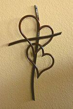 4 Foot Double Heart Cross Copper Finish -