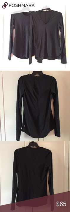Two Lululemon long Sleeve tshirts Pre-loved black long sleeve shirts. They have for sure been worn but still lots of love and wear in them. I thought one of them had a hole in the seen but when I inspected today I could not find it. Both have thumb holes and the material is a bit faded.  One is a v neck the other not.  No trades. Make offers. Bundle and save. lululemon athletica Tops Tees - Long Sleeve