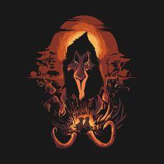 Disney's The Lion King t-shirt by Harantula (Javier Sanz Arias and Héctor San Andrés). The King is Dead. Scar was a sinister Disney villain. Disney Fan Art, Film Disney, Disney Movies, Disney Pixar, Scar Lion King, Lion King Art, Le Roi Lion, Disney Kunst, Disney Lion King