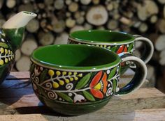 Mug for wife Green mug Set of 2 mugs Tea mug Coffee cup