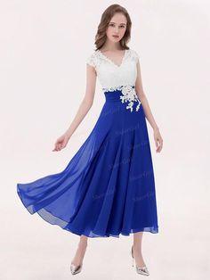 f8a18d71415 A-line V-neck Ivory Lace Applique Tea-length Bridesmaid Dresses Plus Size  apd2656. Ivory Lace TopFormal Dresses For WomenRoyal BlueBridesmaid ...