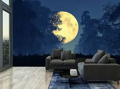 The moon against the dark paint implies light Wall Murals Bedroom, Mural Wall Art, Mural Painting, Forest Painting, Home Wallpaper, Forest Wallpaper, Forest Mural, Forest Room, Forest Cottage