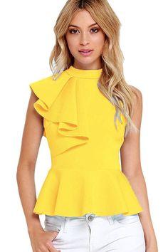 Yellow Asymmetric Ruffle Side Peplum Top. Chiffon BlousesSleeveless  BlouseWomen s ... aec410dc9d75