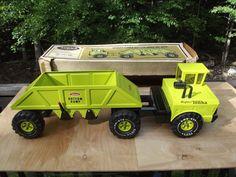 Tonka Mighty Bottom Dump Truck Green Pressed Steel Toy Truck with Original Box #Tonka #Tonka