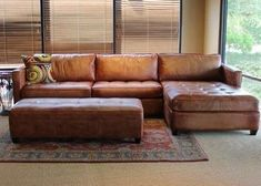 loukas leather reclining sectional sofa with reclining chaise- where can i find this to buy??? #RecliningSofa #LeatherSectionalSofas