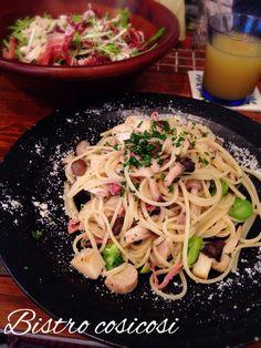 Bistro cosicosi❤︎ Today's Dinner❤︎ date❤︎2015.4  ⋈自家製アンチョビソースのシーザーサラダ ⋈茸とそら豆のペペロンチーノ  #ビストロコジコジ