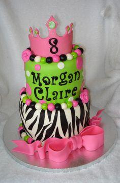 Zebra and Green Birthday Cake