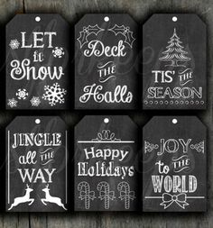 use black paper, rub chalk over and wipe off, neat way to make chalkboard tags Printable chalkboard gift tags