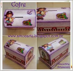 Cofre baú lilas - mdf madeira http://www.amocarte.blogspot.com.br/