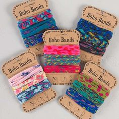 Boho Bands - Sold in sets of 3, Boho Bands can be worn as headbands, pony holder, or wrapped around your wrist for a unique and stylish bracelet. As cute as they are versatile!