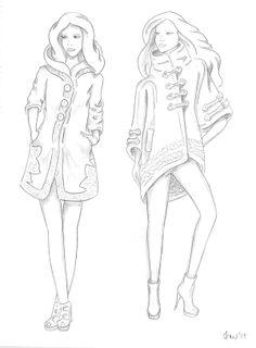 Fashion Sketches by Ivana Miklesova, via Behance