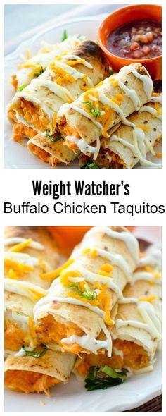 Baked Buffalo Chicken Taquitos for Weight Watcher's - 3 points - Recipe Diaries - #gamedayfood