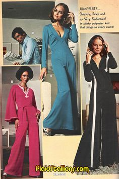 Plaid Stallions : Rambling and Reflections on pop culture: Jumpsuits: Shapely, Sexy and So Very Seductive! 70s Women Fashion, Sixties Fashion, Retro Fashion, Fashion Models, Vintage Fashion, Fashion Trends, Lauren Hutton, Patti Hansen, 70s Outfits