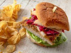 "Pork Schnitzel Sandwich Weeknight Dinners) - ""The Pioneer Woman"", Ree Drummond on the Food Network. Schnitzel Sandwich Recipe, Schnitzel Recipes, Pork Sandwich, Sandwich Recipes, Pork Recipes, Cooking Recipes, Sandwich Ideas, Quick Recipes, Deserts"