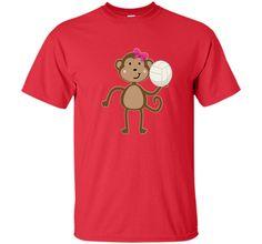 Volleyball T-shirt Cute Sports Ball Girl Monkey Team Gift cool shirt