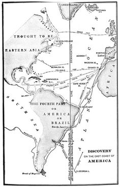 Map of the journey of Columbus as he arrived at America
