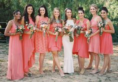 Choose your own coral bridesmaid dress success! Coral Dress Wedding, Coral Bridesmaid Dresses, Wedding Attire, Wedding Bridesmaids, Wedding Colors, Wedding Styles, Wedding Dresses, Coral Weddings, Beach Weddings