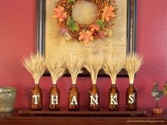 ❤I did this last year using four bottles and  spelling FALL.....looked nice in my kitchen  window