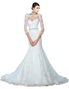 ZHUOLAN White Mermaid Lace 3/4 Length Sleeves Wedding Dress     #Dress, #Lace, #Length, #Mermaid, #Sleeves, #Wedding, #White, #ZHUOLAN
