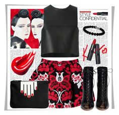 """Red"" by stylemeup007 ❤ liked on Polyvore featuring Bobbi Brown Cosmetics, Gianvito Rossi, Fendi, Lulu Guinness, David Yurman, redandblack and beoriginal"