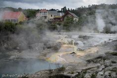 This NZ greeting card is of Whakarewarewa in Rotorua. This māori village is built amongst hot springs, mud pools, and a geyser. Rotorua New Zealand, Maori Tribe, Visit New Zealand, Redwood Forest, Hot Springs, Cool Places To Visit, The Locals, The Good Place, Greeting Cards